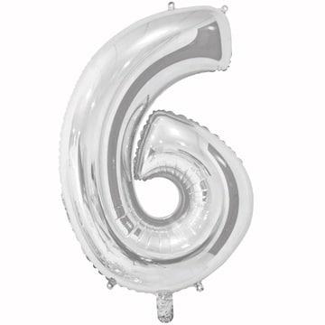 Шар 66 см Цифра 6 Серебро