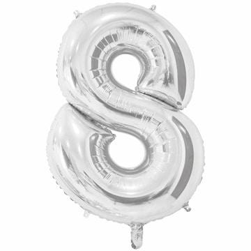 Шар 66 см Цифра 8 Серебро