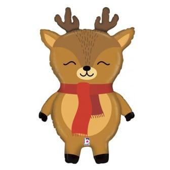 Шар 74 см Фигура Маленький олень в красном шарфе Коричневый