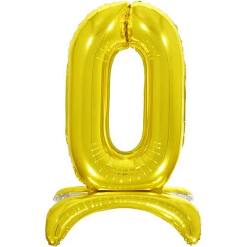 Шар 81 см Цифра 0 Золото на подставке с воздухом