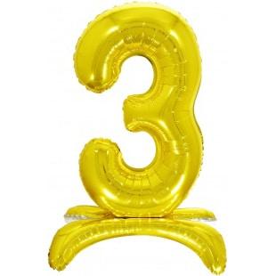 Шар 81 см Цифра 3 Золото на подставке с воздухом