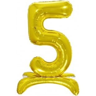 Шар 81 см Цифра 5 Золото на подставке с воздухом