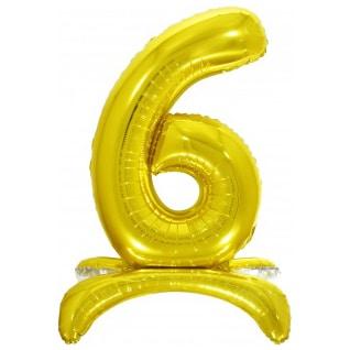 Шар 81 см Цифра 6 Золото на подставке с воздухом