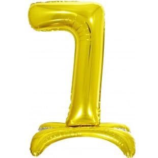 Шар 81 см Цифра 7 Золото на подставке с воздухом