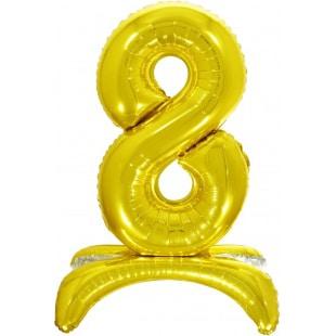 Шар 81 см Цифра 8 Золото на подставке с воздухом