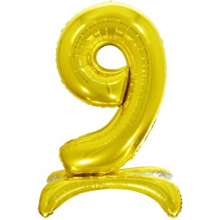 Шар 81 см Цифра 9 Золото на подставке с воздухом