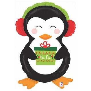 Шар 86 см Фигура Пингвин с новогодним подарком