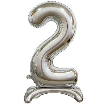 Шар 90 см Цифра 2 Серебро на подставке с воздухом