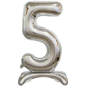 Шар 90 см Цифра 5 Серебро на подставке с воздухом