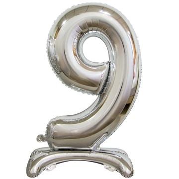 Шар 90 см Цифра 9 Серебро на подставке с воздухом