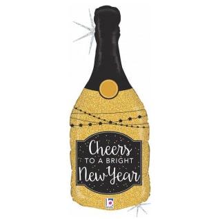 Шар 91 см Фигура Бутылка Новогоднее шампанское Золото Голография