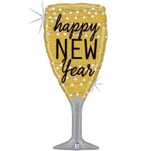 Шар 94 см Фигура Бокал Новогоднее шампанское Золото Голография