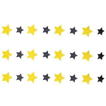 Гирлянда на нитке Круги Звёзды Черные и Золото Black & Gold 2,2 м