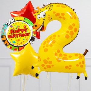 Комплект из шаров с Цифрой Животные Цифра 2 Жираф