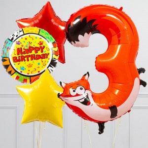 Комплект из шаров с Цифрой Животные Цифра 3 Лиса