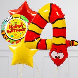 Комплект из шаров с Цифрой Животные Цифра 4 Змея