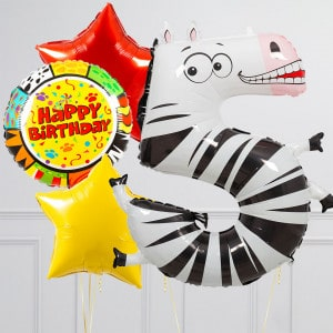 Комплект из шаров с Цифрой Животные Цифра 5 Зебра