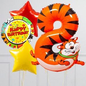 Комплект из шаров с Цифрой Животные Цифра 8 Тигр