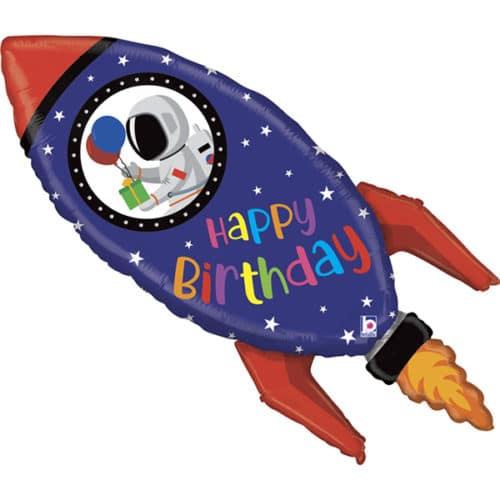 Шар 102 см Фигура Космическая ракета С Днем Рождения
