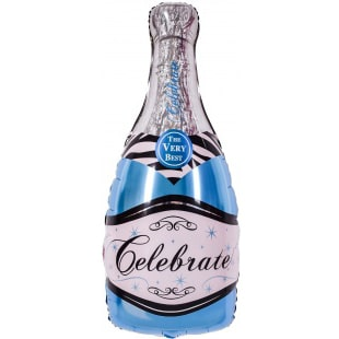 Шар 36 см Мини-фигура Бутылка Шампанское вино Голубой
