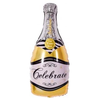 Шар 36 см Мини-фигура Бутылка Шампанское вино Золото