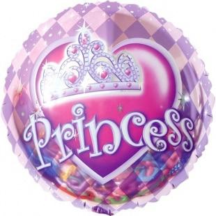 Шар 46 см Круг Корона для принцессы Розовый