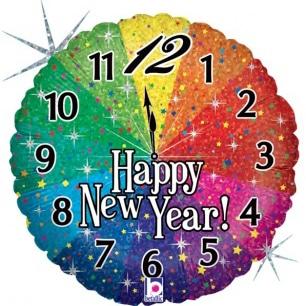Шар 46 см Круг Новогодние часы Яркий фейерверк Радужный Голография