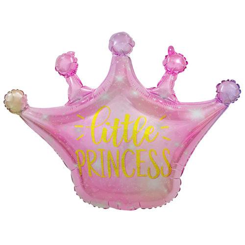 Шар 76 см Фигура Корона Маленькая Принцесса Искорки звезд Розовый Градиент