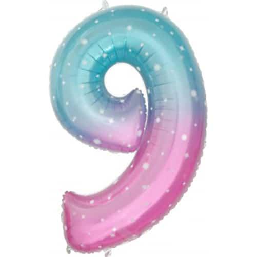 Шар 86 см Цифра 9 Нежные искры Розовый Градиент