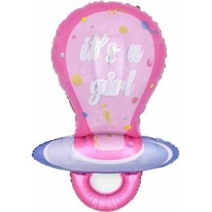 Шар 97 см Фигура Соска - пустышка для девочки Розовый