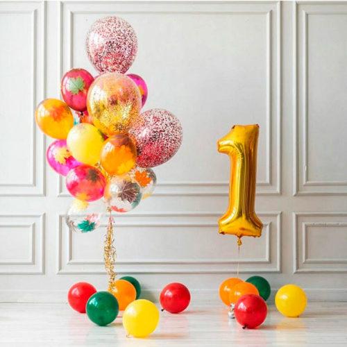 Комплеккт для фотосессии из воздушных шаров на 1 сентября Цифра и шары на пол