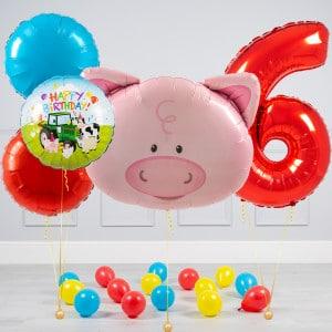 Комплект из шаров шаров Голова Свинки и Круги и шары на пол на 6 лет