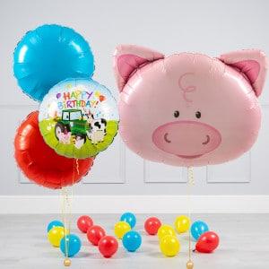 Комплект из шаров шаров Голова Свинки и Круги и шары на пол