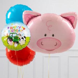 Связка из шаров шаров Голова Свинки и Круги