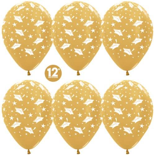 Шар 30 см Выпускной Золото яркое Металлик 5 сторон