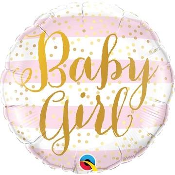 Шар 46 см Круг Baby Girl полосы розовые
