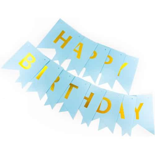 Гирлянда Флажки Happy Birthday Голубой Металлик 20 х 210 см
