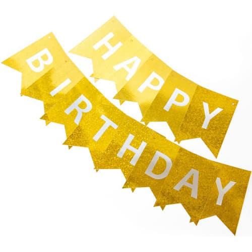 Гирлянда Флажки Happy Birthday Золото Голография 160 см
