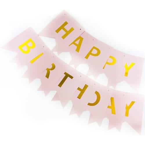 Гирлянда Флажки Happy Birthday Розовый Металлик 20 х 210 см