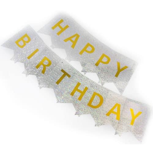 Гирлянда Флажки Happy Birthday Серебро Голография 160 см