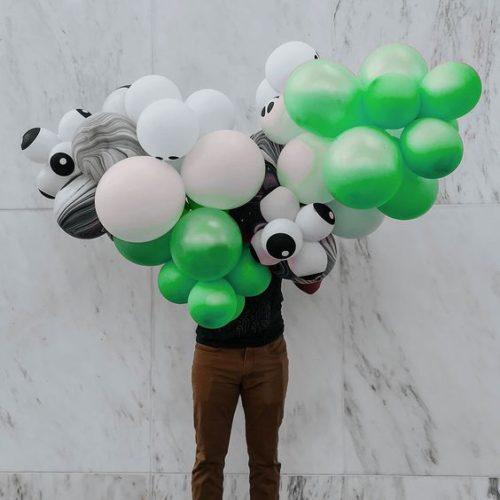 Гирлянда из воздушных шаров на Хеллоуин с глазками Зеленый Белый