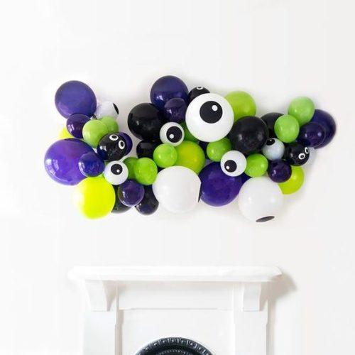 Гирлянда из воздушных шаров на Хеллоуин с глазками Зеленый Черный