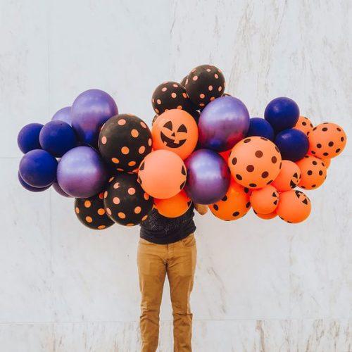 Гирлянда из воздушных шаров на Хеллоуин с глазками Оранжевый Фиолетовый