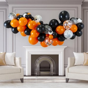Гирлянда из воздушных шаров на Хеллоуин с глазками Оранжевый Черный