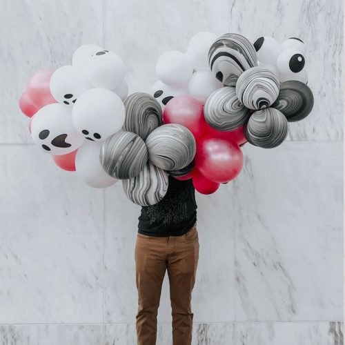 Гирлянда из воздушных шаров на Хеллоуин с глазками Розовый Белый Черный