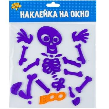 Наклейка гелевая на окно HWN Скелет