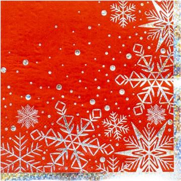 Салфетка 25 х 25 см Снежные Искры 6 штук