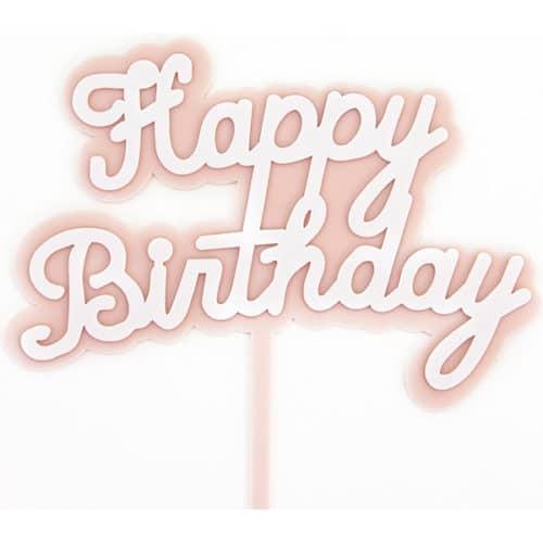 Топпер Happy Birthday Розовый 14 х 15 см