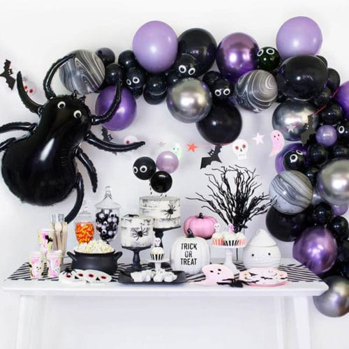Фотозона из воздушных шаров на Хеллоуин Гирлянда с Пауком