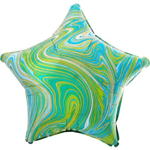 Шар 46 см Звезда Мрамор Золотая нить Бирюзовый Агат